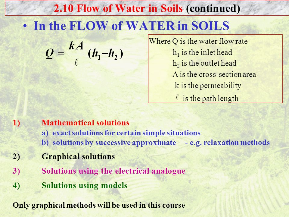 2.10 Flow of Water in Soils (continued)