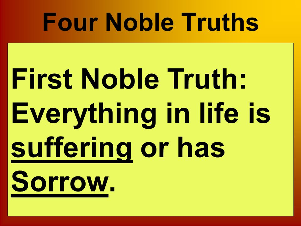 the four noble truths upon which all the buddhist teaching is based The fifth precept is based on keeping a clear once upon a time, the buddha came into the world as a four noble truths: the first teachings spoken by.