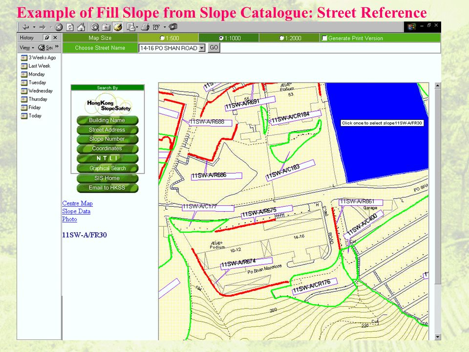 Example of Fill Slope from Slope Catalogue: Street Reference