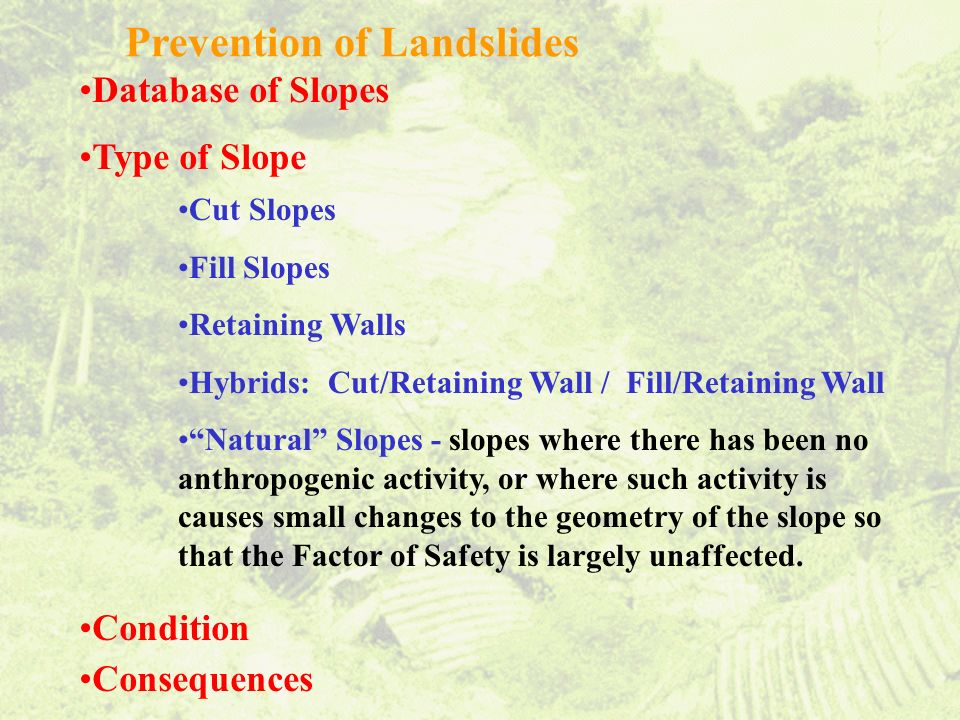 Prevention of Landslides