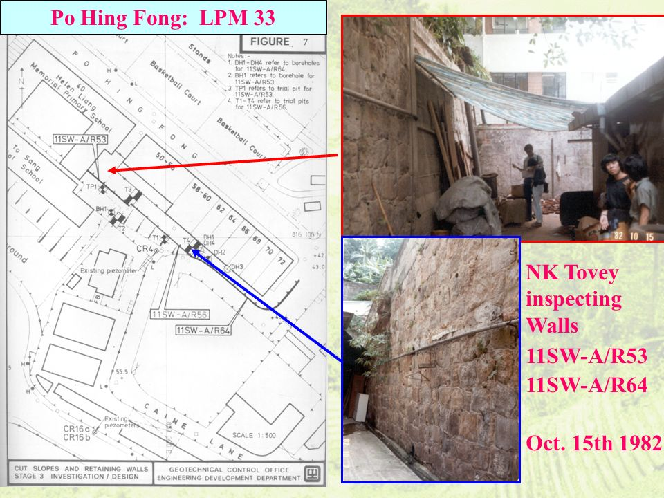 Po Hing Fong: LPM 33 NK Tovey inspecting Walls 11SW-A/R53 11SW-A/R64 Oct. 15th 1982