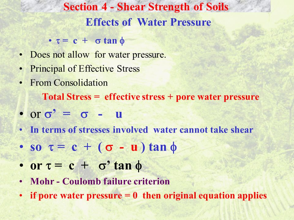 Section 4 - Shear Strength of Soils Effects of Water Pressure