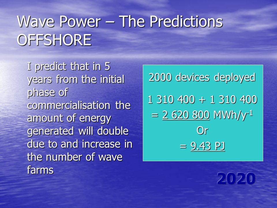 Wave Power – The Predictions OFFSHORE