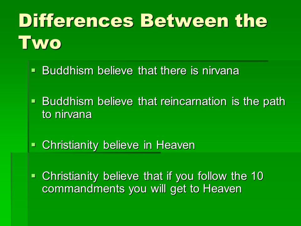 compare afterlife with christianity and buddhism Hinduism, islam, christianity and buddhism comparison another one is that neither believe in hell or that other people will be deprived of whatever afterlife exists.