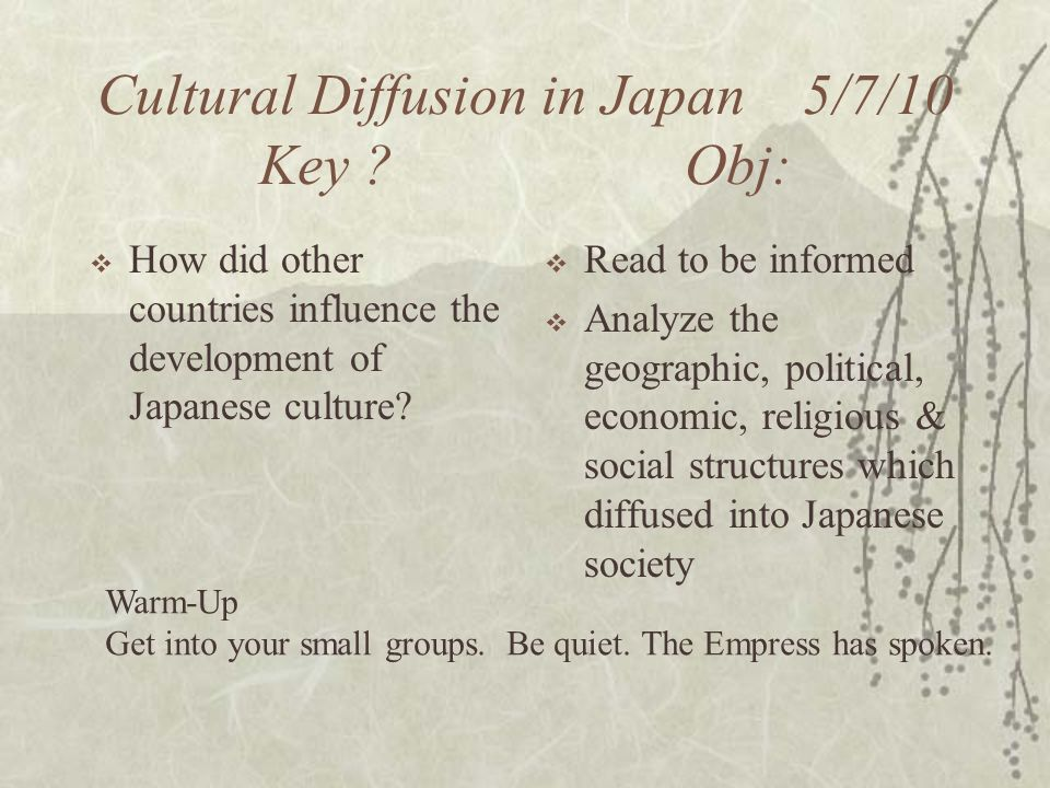 cultural diffusion in japan How sushi went global  and the diffusion of culinary culture as  in the newly rewired circuitry of global cultural and economic affairs, japan is the.