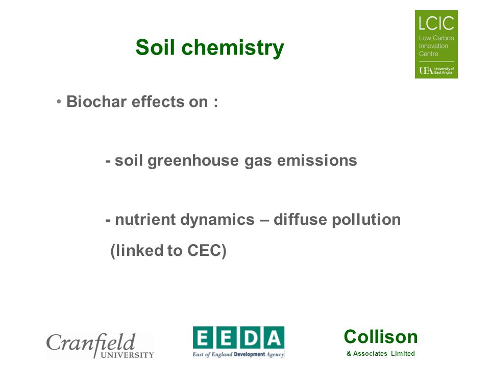 Soil chemistry Biochar effects on : - soil greenhouse gas emissions