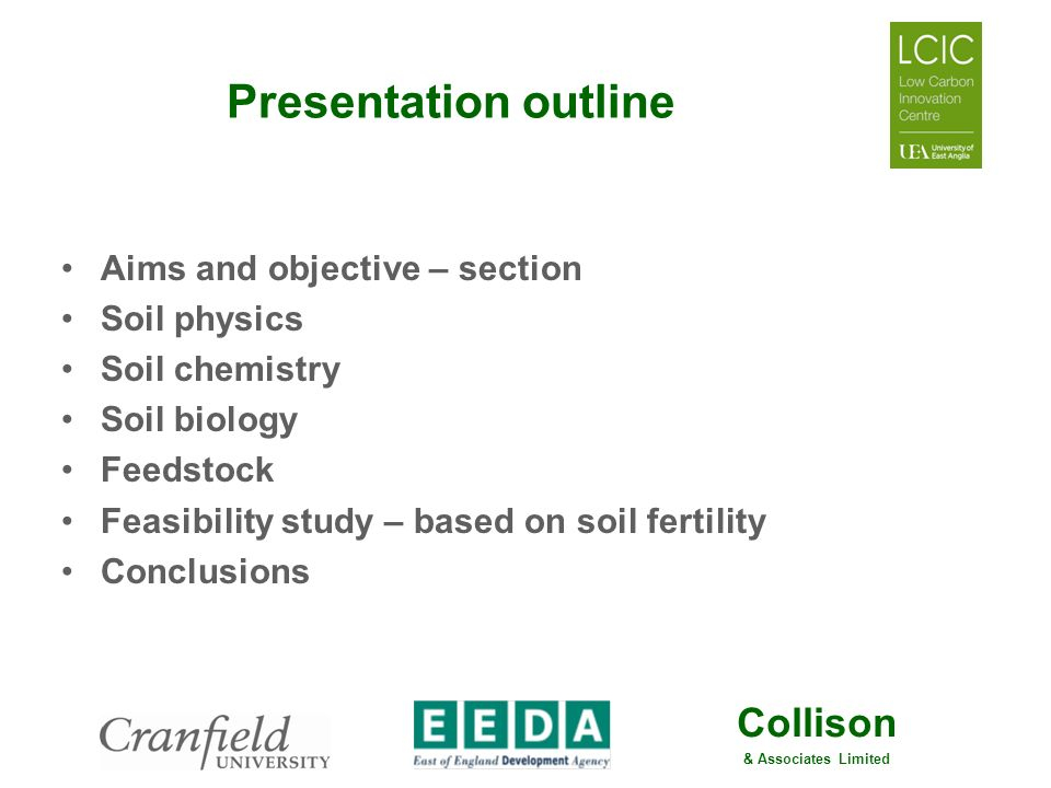 Presentation outline Aims and objective – section Soil physics