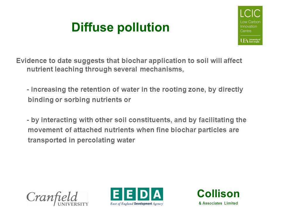 Diffuse pollution Evidence to date suggests that biochar application to soil will affect nutrient leaching through several mechanisms,