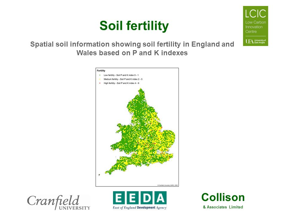 Soil fertility Spatial soil information showing soil fertility in England and Wales based on P and K indexes.