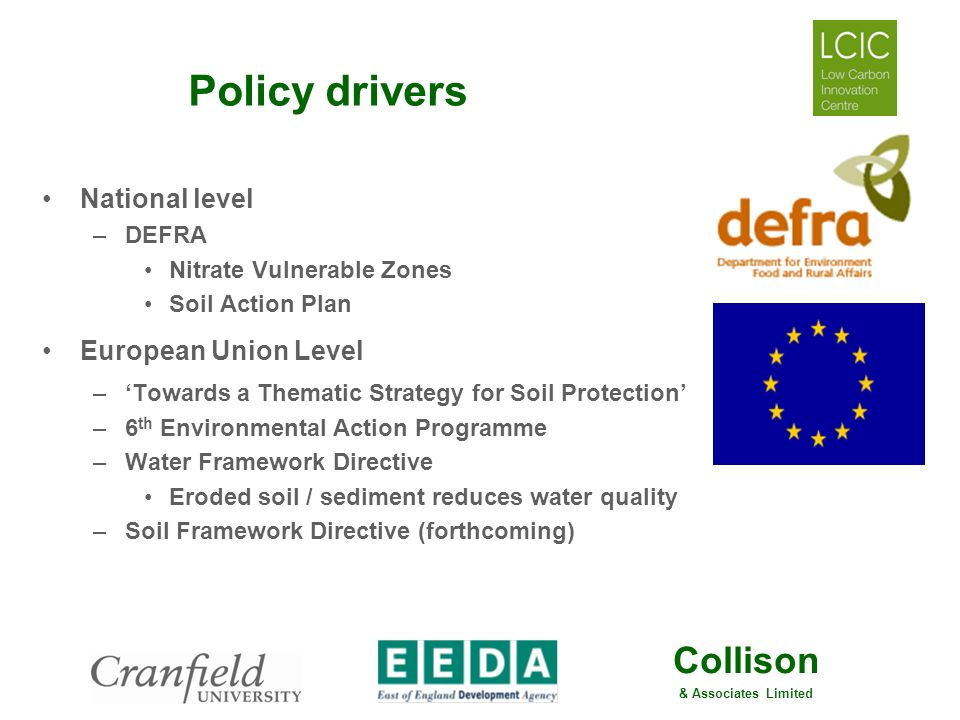 Policy drivers National level European Union Level DEFRA