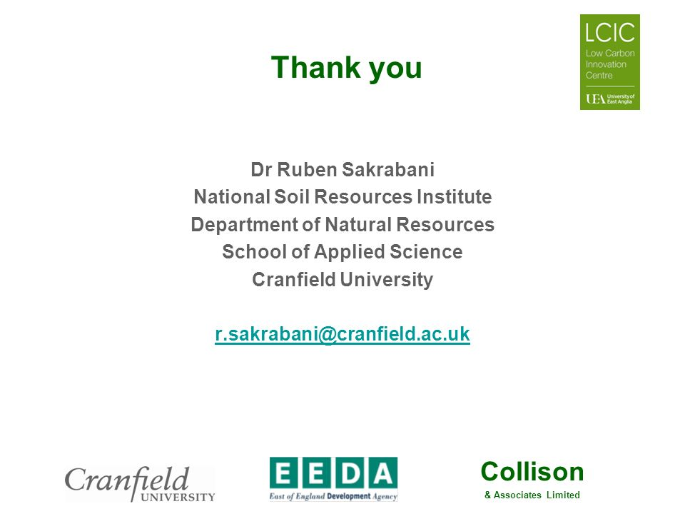 Thank you Dr Ruben Sakrabani National Soil Resources Institute