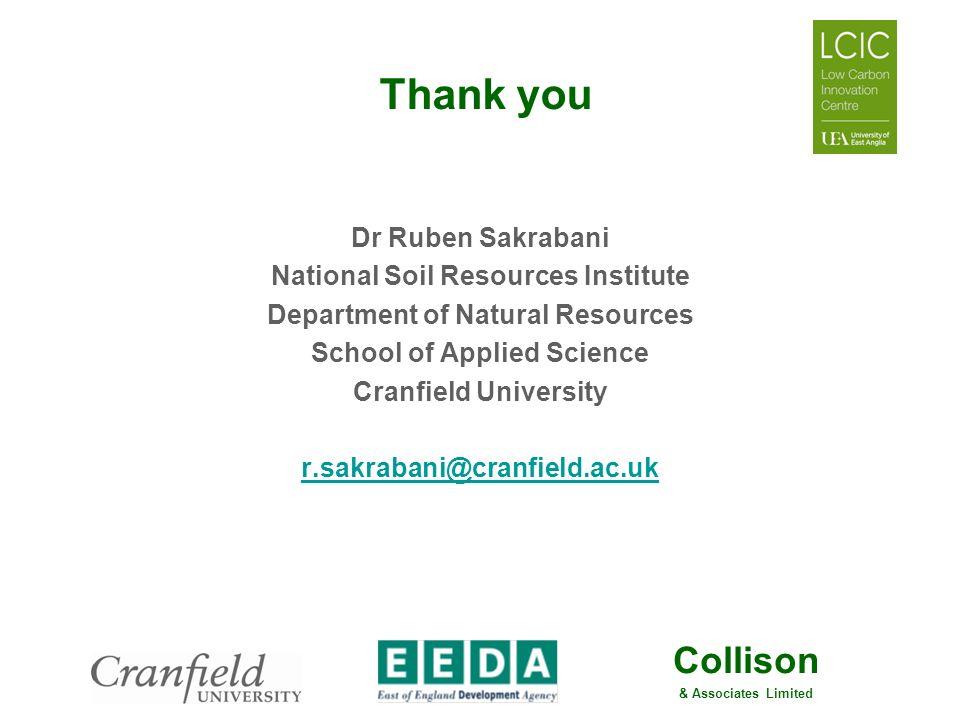 Thank you Dr Ruben Sakrabani National Soil Resources Institute
