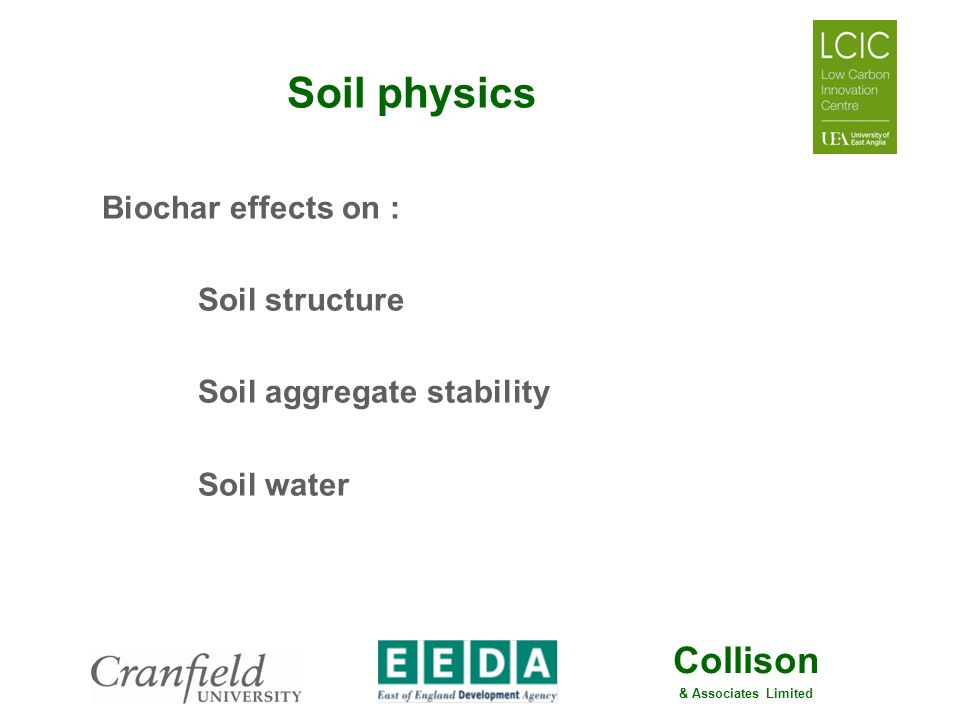 Soil physics Biochar effects on : Soil structure