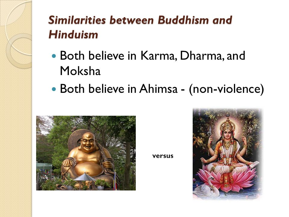 the similarities and differences between hinduism and buddhism Jainism vs hinduism jainism and hinduism are two religions of the world that show differences between them when it comes to their concepts, religious beliefs and the like.