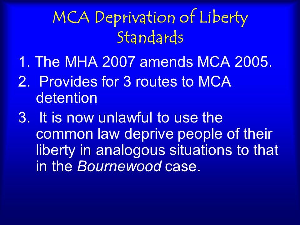 MCA Deprivation of Liberty Standards