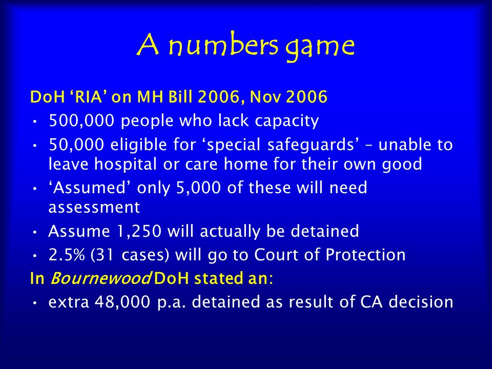 A numbers game DoH 'RIA' on MH Bill 2006, Nov 2006