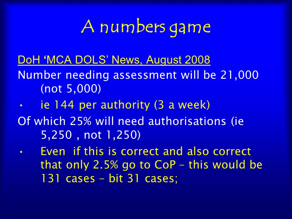 A numbers game DoH 'MCA DOLS' News, August 2008
