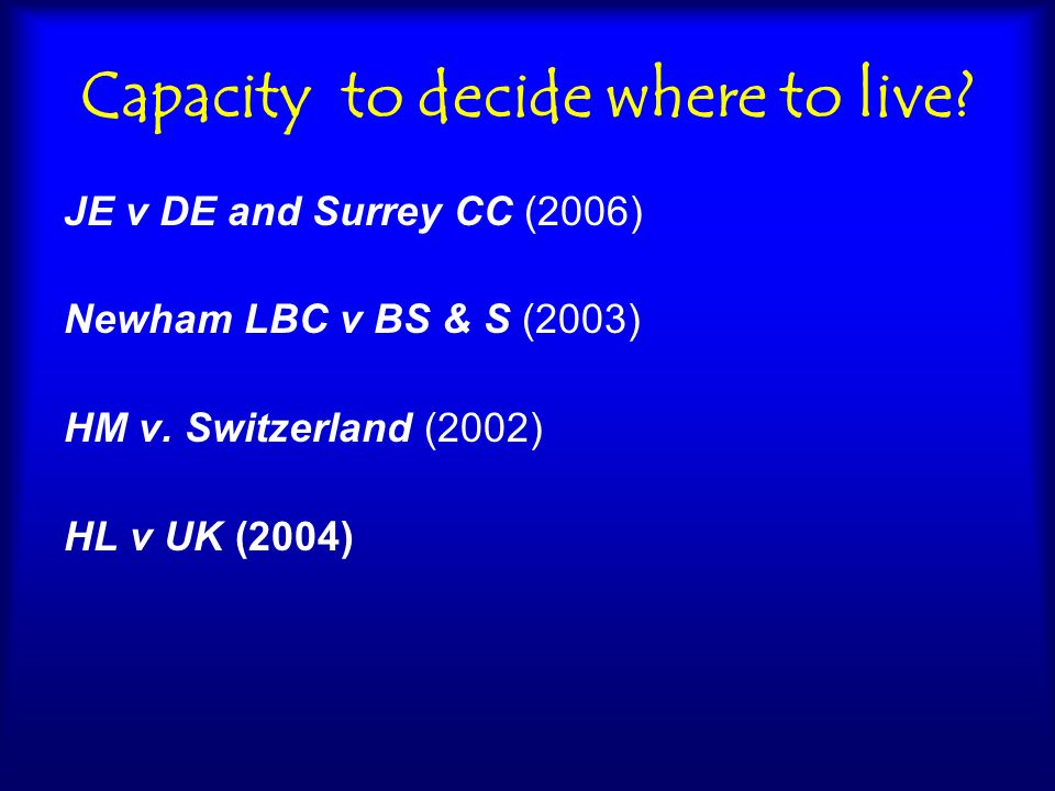 Capacity to decide where to live