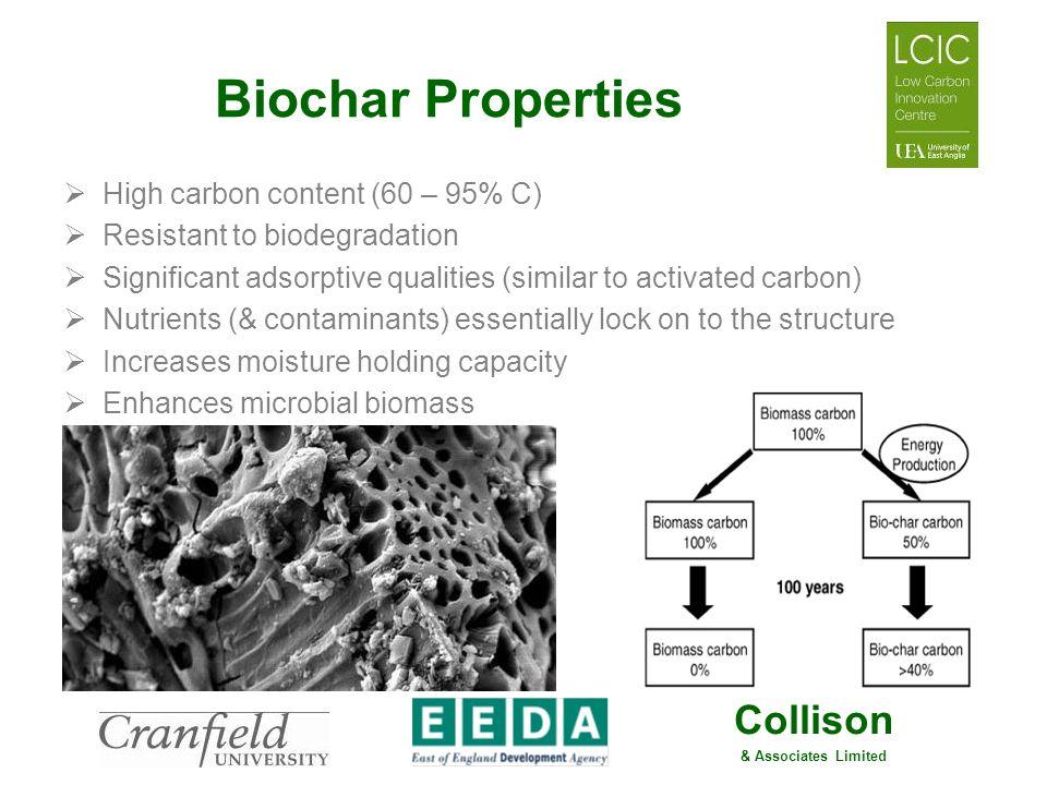 Biochar Properties High carbon content (60 – 95% C)