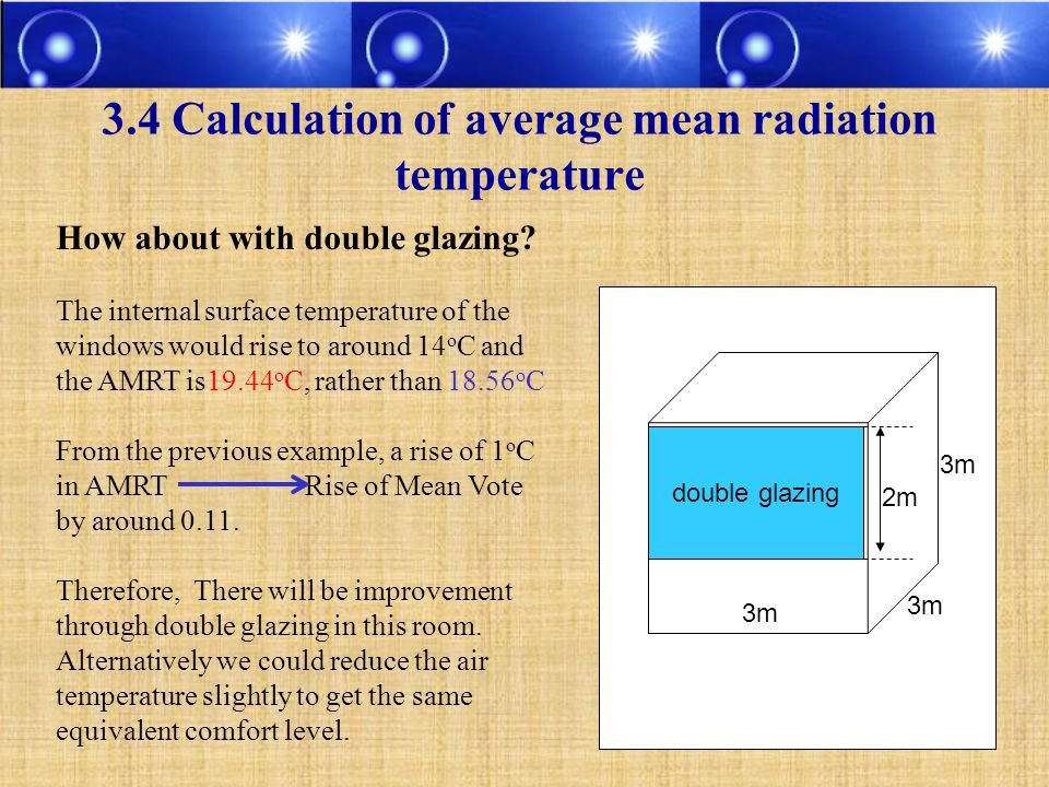 3.4 Calculation of average mean radiation temperature