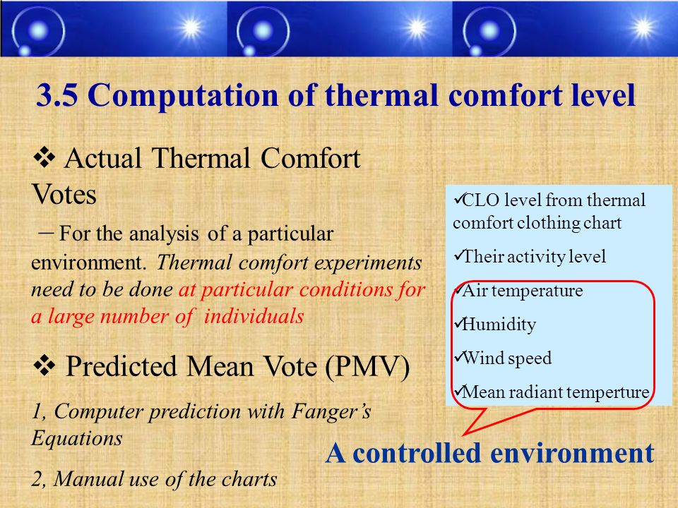 3.5 Computation of thermal comfort level