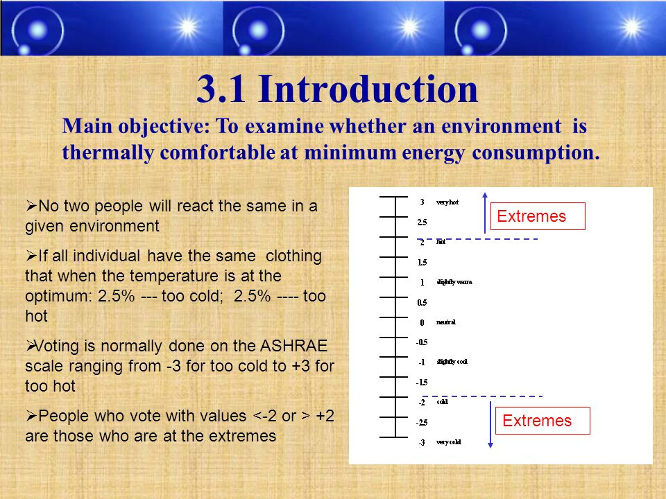 3.1 Introduction Main objective: To examine whether an environment is thermally comfortable at minimum energy consumption.