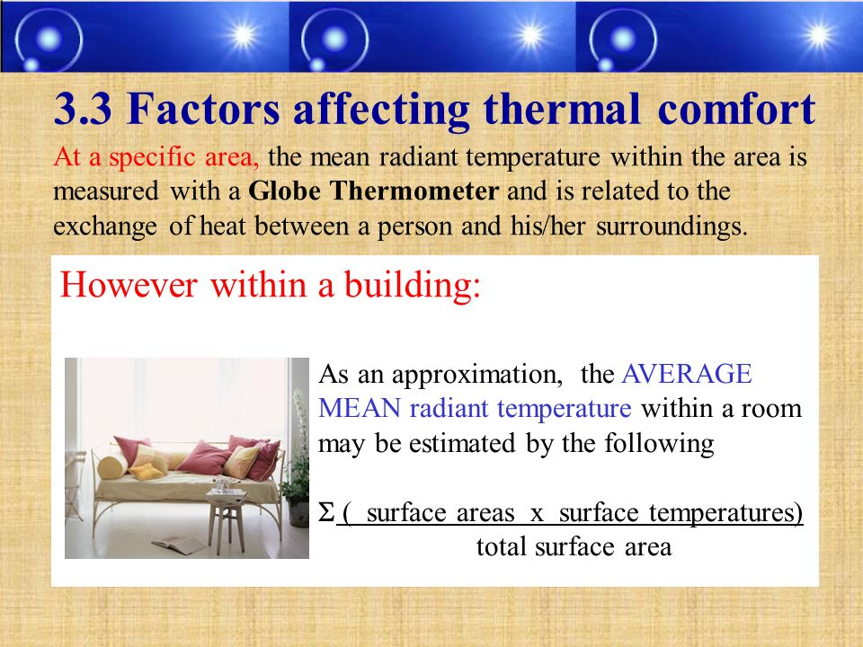 3.3 Factors affecting thermal comfort