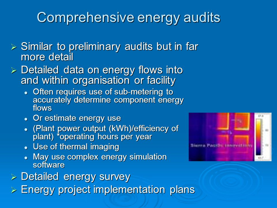 Comprehensive energy audits