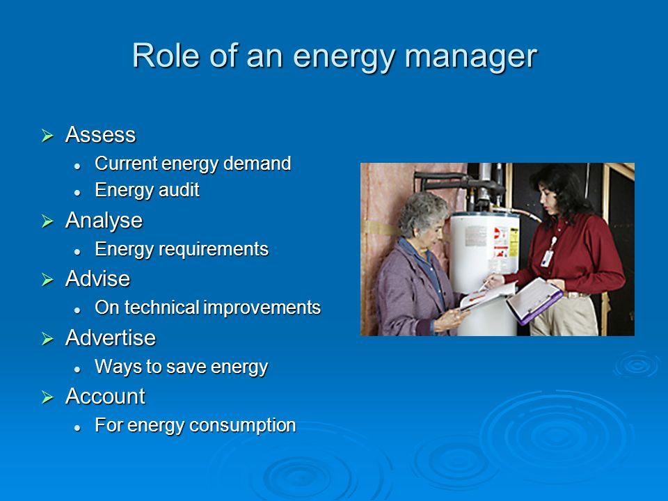 Role of an energy manager
