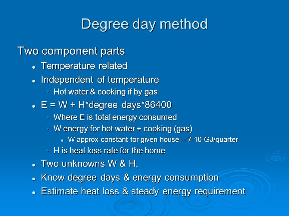 Degree day method Two component parts Temperature related