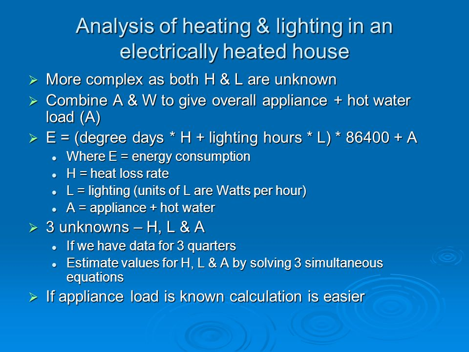 Analysis of heating & lighting in an electrically heated house