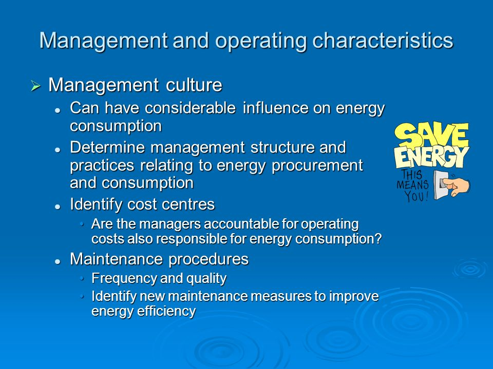 Management and operating characteristics