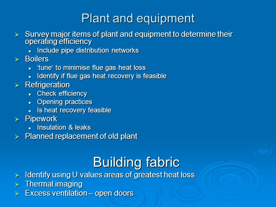 Building fabric Plant and equipment