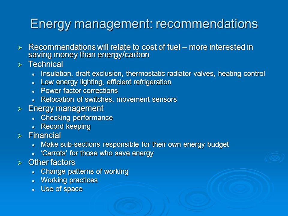 Energy management: recommendations