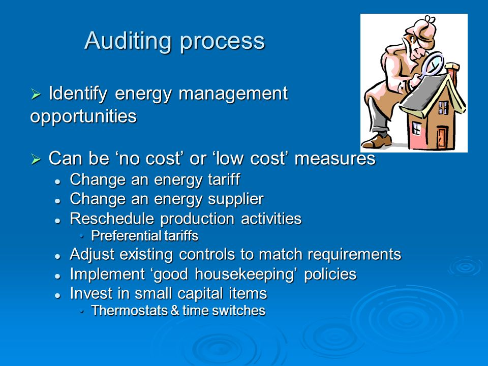 Auditing process Identify energy management opportunities