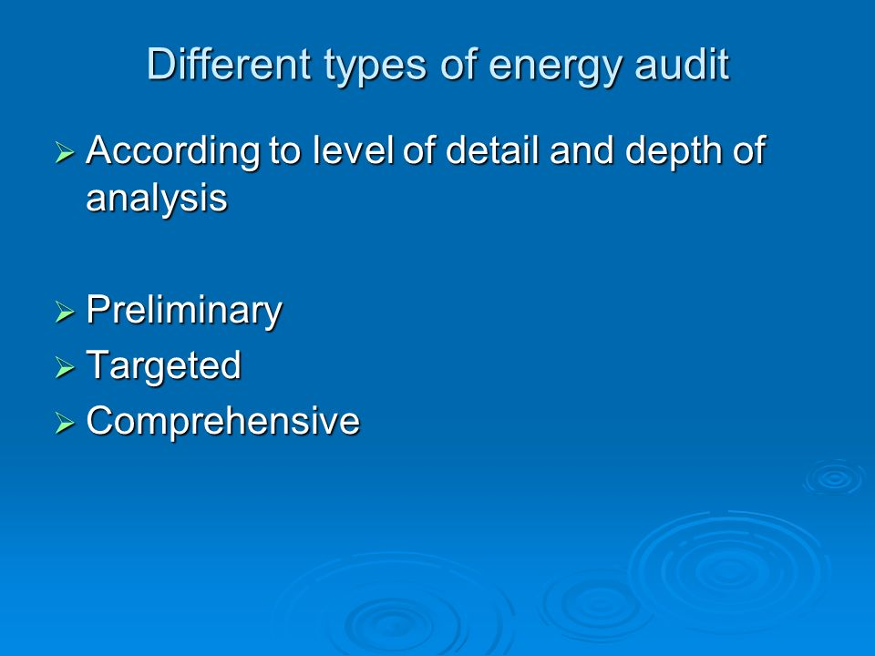 Different types of energy audit