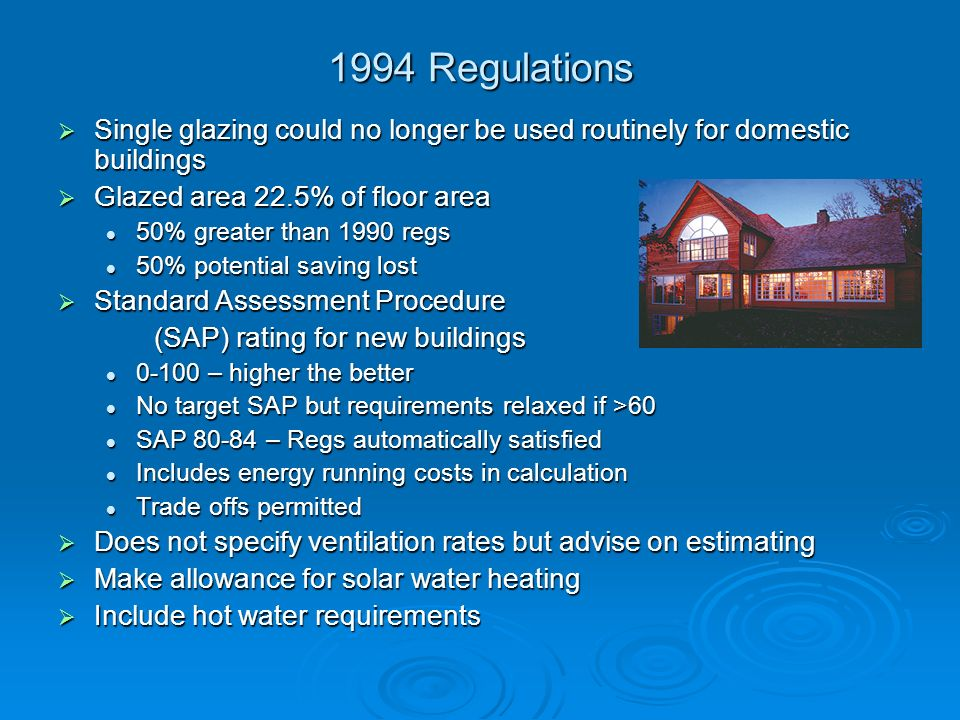 1994 Regulations Single glazing could no longer be used routinely for domestic buildings. Glazed area 22.5% of floor area.