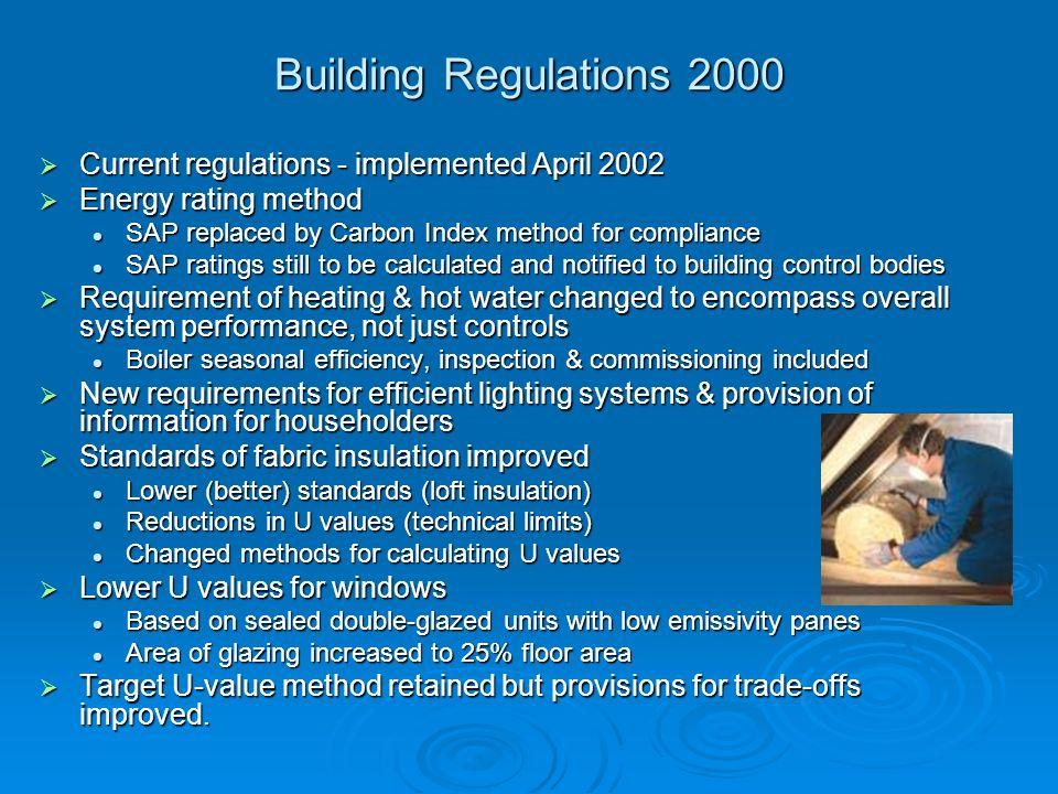 Building Regulations 2000 Current regulations - implemented April 2002