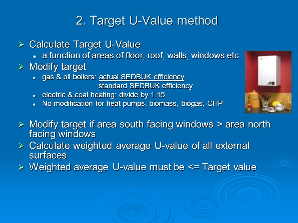 2. Target U-Value method Calculate Target U-Value Modify target