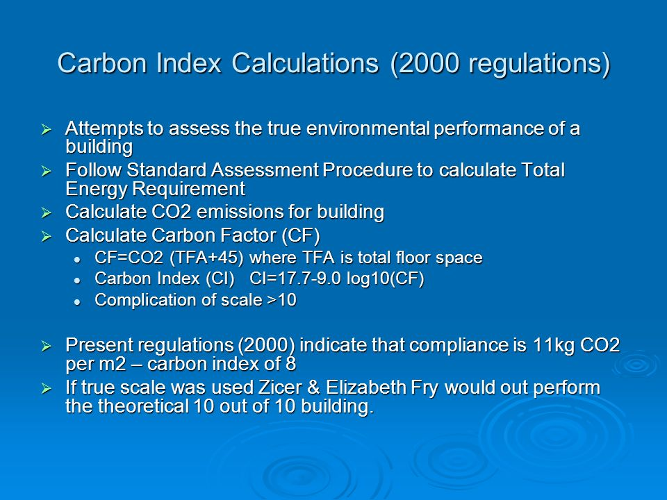 Carbon Index Calculations (2000 regulations)