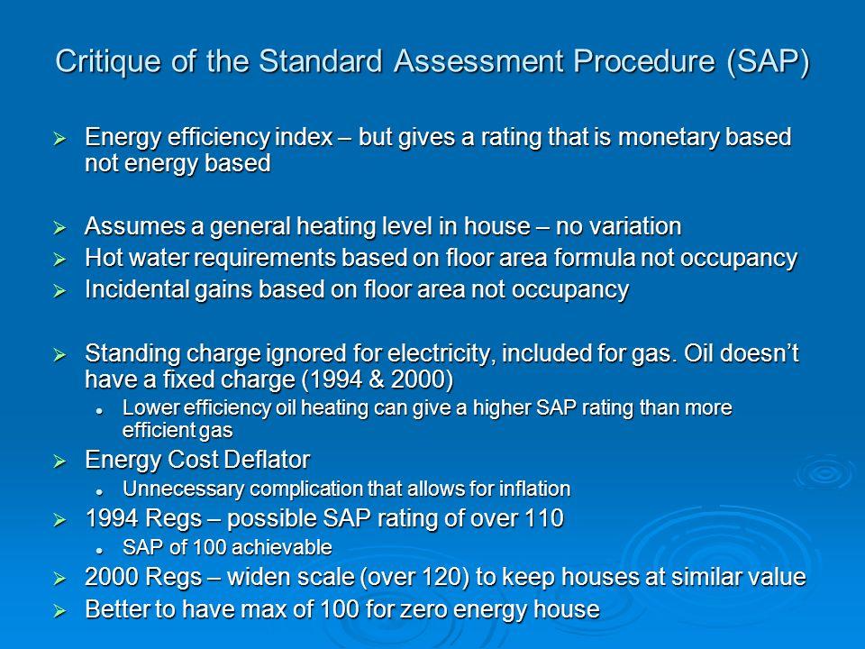 Critique of the Standard Assessment Procedure (SAP)