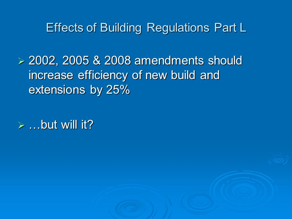 Effects of Building Regulations Part L