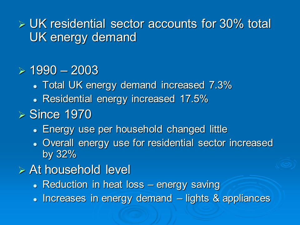 UK residential sector accounts for 30% total UK energy demand