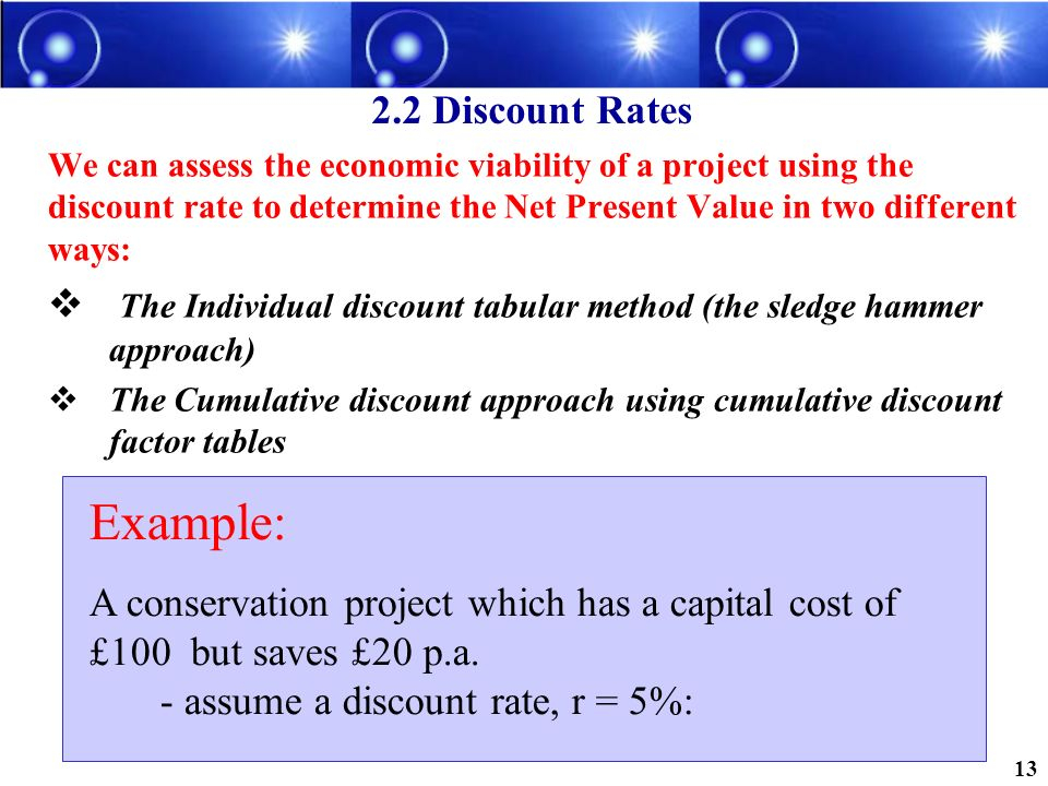 Example: 2.2 Discount Rates