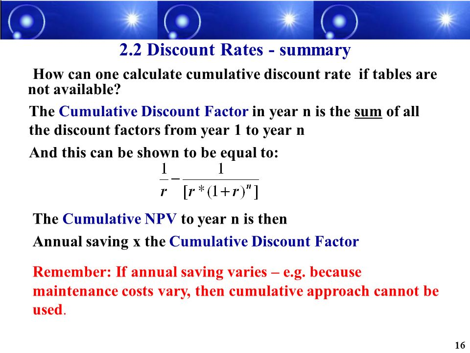 2.2 Discount Rates - summary