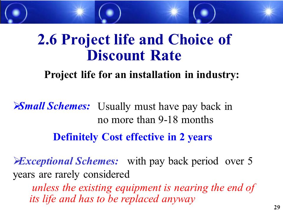 2.6 Project life and Choice of Discount Rate