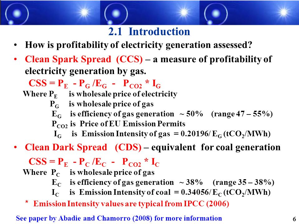 2.1 Introduction How is profitability of electricity generation assessed