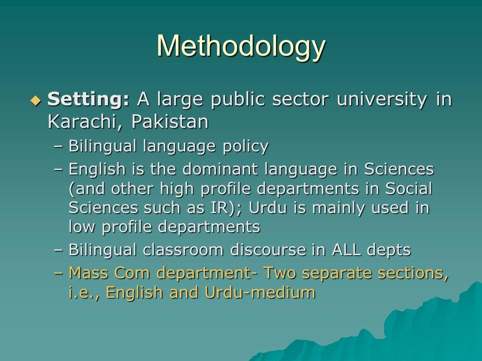 Methodology Setting: A large public sector university in Karachi, Pakistan. Bilingual language policy.