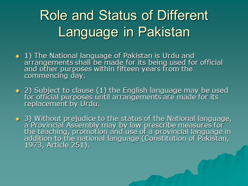 Role and Status of Different Language in Pakistan