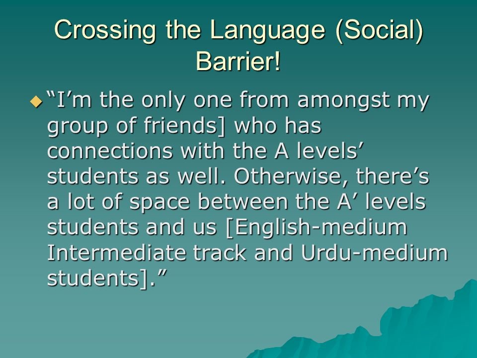 Crossing the Language (Social) Barrier!